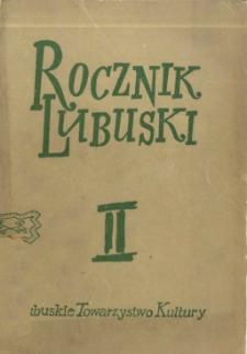 Rocznik Lubuski, tom 2 - spis treści