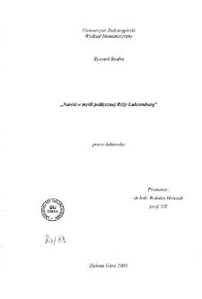 Naród w myśli politycznej Róży Luksemburg