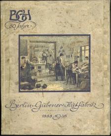 50 Jahre Berlin-Gebener Hutfabrik Aktiengesellschaft 1888-1938