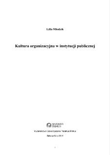 Kultura organizacyjna w instytucji publicznej