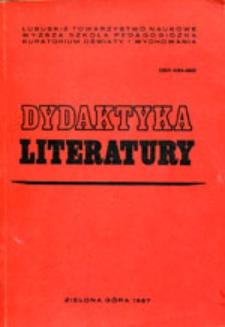 Dydaktyka Literatury, t. 8 - spis treści