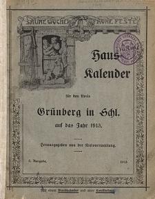 Hauskalender für den Kreis Grünberg in Schl. auf das Jahr 1913