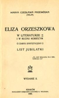 Eliza Orzeszkowa w literaturze i w ruchu kobiecym: zarys syntetyczny