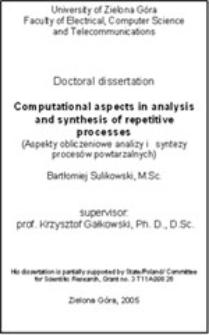 Computational aspects in analysis and synthesisof repetitive processes = Aspekty obliczeniowe analizy i syntezy procesów powtarzalnych