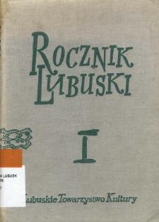 Rocznik Lubuski, tom 1 - spis treści