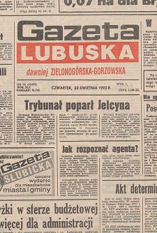 Gazeta Lubuska : dawniej Zielonogórska-Gorzowska R. XLI [właśc. XLII], nr 141 (21 czerwca 1993). - Wyd 1