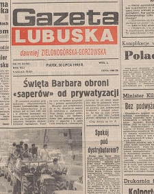 Gazeta Lubuska : dawniej Zielonogórska-Gorzowska R. XLI [właśc. XLII], nr 192 (19 sierpnia 1993). - Wyd 1