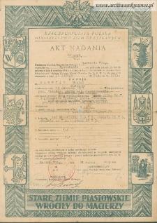 Michał Głowiak - Akt nadania Nr 3907 (wypis)