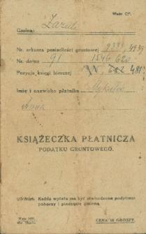 Książeczka płatnicza podatku gruntowego, płatnik Anna Mykietów (z d. Tkaczuk)