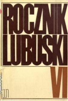Rocznik Lubuski, tom 6 - spis treści