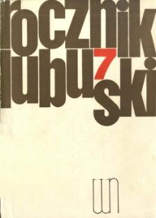 Rocznik Lubuski, tom 7 - spis treści