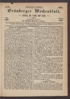 Grünberger Wochenblatt: Zeitung für Stadt und Land, No. 71. (5. September 1869)