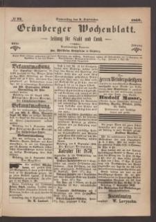 Grünberger Wochenblatt: Zeitung für Stadt und Land, No. 72. (9. September 1869)