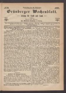 Grünberger Wochenblatt: Zeitung für Stadt und Land, No. 74. (16. September 1869)