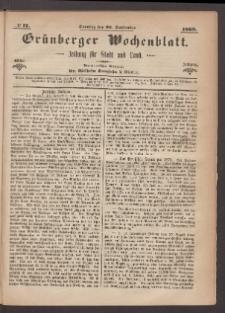 Grünberger Wochenblatt: Zeitung für Stadt und Land, No. 77. (26. September 1869)