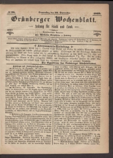 Grünberger Wochenblatt: Zeitung für Stadt und Land, No. 78. (30. September 1869)