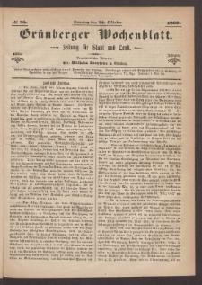 Grünberger Wochenblatt: Zeitung für Stadt und Land, No. 85. (24. Oktober 1869)