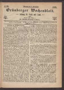 Grünberger Wochenblatt: Zeitung für Stadt und Land, No. 89. (7. November 1869)