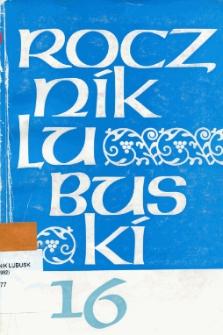 Rocznik Lubuski (t. 16) - spis treści