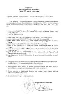 Decyzja nr Ministra Edukacji Narodowej z dnia 27 marca 2000 r. w sprawie powołania Zespołu do Spraw Utworzenia Uniwersytetu w Zielonej Górze