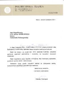 [List gratulacyjny Rektora Politechniki Śląskiej z okazji pierwszej inauguracji roku akademickiego na Uniwersytecie Zielonogórskim]